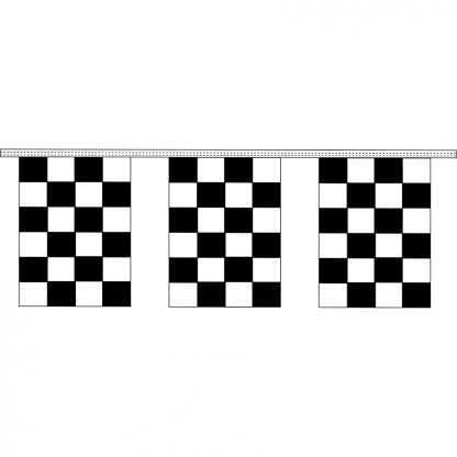 "CRS-30 9"" x 12"" Black & White Checkered 4 mil. 30' Pennant Strings-0"