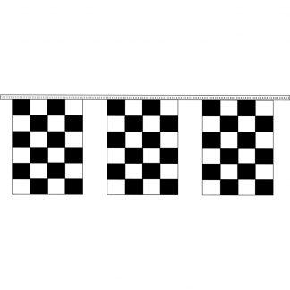 "CRS8-60 9"" x12"" Black & White Checkered 8 mil. 60' Pennant Strings-0"