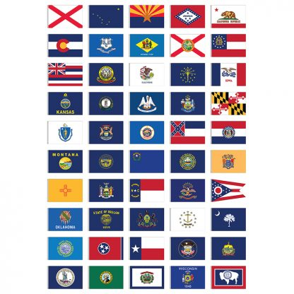 CSS-105P Complete Set of 50 Outdoor State Flags 3' x 5' 2-ply Polyester Flags-0