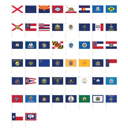 """CSS-1218 Complete Set of 50 States 12"""" x 18"""" Mounted Polyester Flags-0"""