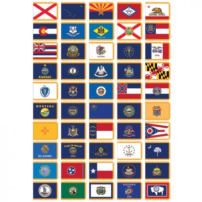 CSS-205 Complete Set of 50 Indoor State Flags 3' x 5' Flags with Pole Sleeve & Fringe-0