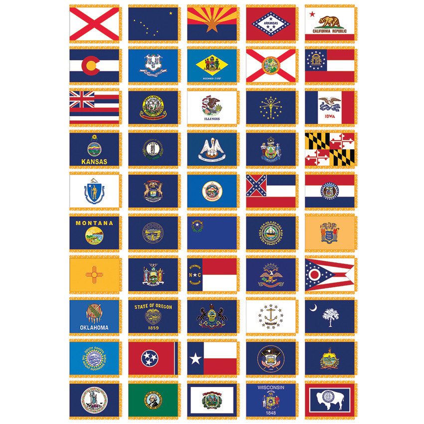 CSS-246 Complete Set of 50 States 4' x 6' Nylon Flags with Pole Hem on all 50 flags, gallery of sovereign-state flags, midwest state flags, world map with flags, all us flags, official state flags, south west region state flags, all state flags, violent lips flags, american state flags, german state flags, southern state flags, australian state flags, country flags, caribbean flags, us state flags, individual state flags, france state flags, color of state flags,