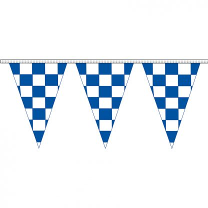 "CTS-100J 12"" x 18"" Blue & White Checkered 4 mil. 100' Pennant Strings-0"