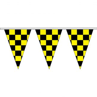 "CTS-100K 12"" x 18"" Black & Yellow Checkered 4 mil. 100' Pennant Strings-0"