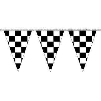 """CTS8-30 12"""" x 18"""" Black & White Checkered 8 mil. 30' Pennant Strings-0"""