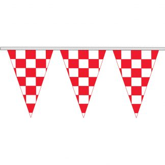 """CTS8-30H 12"""" x 18"""" Red & White Checkered 8 mil. 30' Pennant Strings-0"""