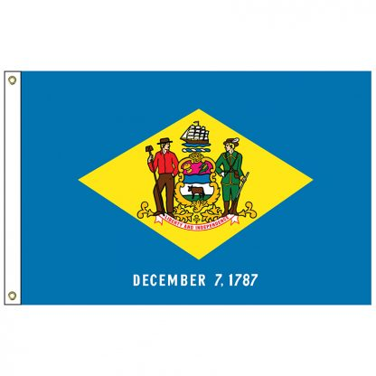 SF-105P-DELAWARE Delaware 5' x 8' 2-ply Polyester Flag with Heading and Grommets-0