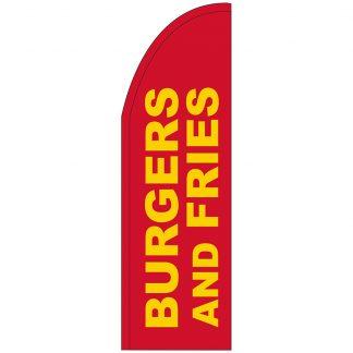 FF-T2-310-BURGERSFRIES Burgers & Fries 3' x 10' Half Drop Feather Flag-0