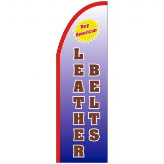FF-T2-310-LEATHERBELTS Leather Belts 3' x 10' Half Drop Feather Flag-0