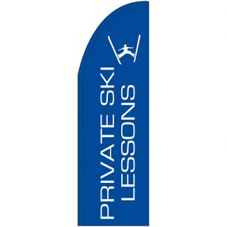 FF-T2-310-LESSONS Private Ski Lessons 3' x 10' Half Drop Feather Flag-0