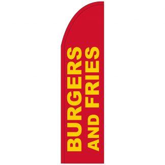 FF-T2-312-BURGERSFRIES Burgers & Fries 3' x 12' Half Drop Feather Flag-0