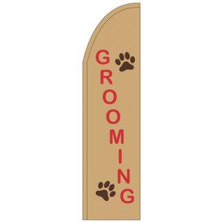 FF-T2-312-GROOMING Grooming 3' x 12' Half Drop Feather Flag-0