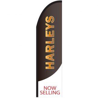 FF-T2-312-HARLEYS Harleys 3' x 12' Half Drop Feather Flag-0