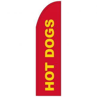 FF-T2-312-HOTDOGS Hot Dogs 3' x 12' Half Drop Feather Flag-0