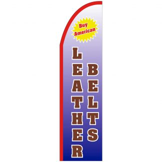 FF-T2-312-LEATHERBELTS Leather Belts 3' x 12' Half Drop Feather Flag-0