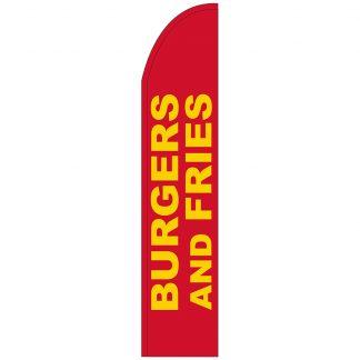 FF-T2-315-BURGERSFRIES Burgers & Fries 3' x 15' Half Drop Feather Flag-0
