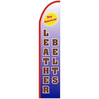 FF-T2-315-LEATHERBELTS Leather Belts 3' x 15' Half Drop Feather Flag-0