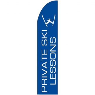 FF-T2-315-LESSONS Private Ski Lessons 3' x 15' Half Drop Feather Flag-0