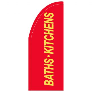 FF-T2-38-BATHS Baths & Kitchens 3' x 8' Half Drop Feather Flag-0
