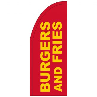 FF-T2-38-BURGERSFRIES Burgers & Fries 3' x 8' Half Drop Feather Flag-0