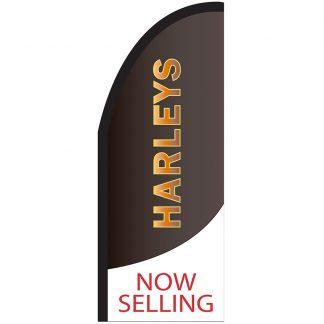 FF-T2-38-HARLEYS Harleys 3' x 8' Half Drop Feather Flag-0