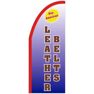 FF-T2-38-LEATHERBELTS Leather Belts 3' x 8' Half Drop Feather Flag-0