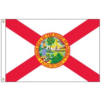 SF-103P-FLORIDA Florida 3' x 5' 2-ply Polyester Flag with Heading and Grommets-0