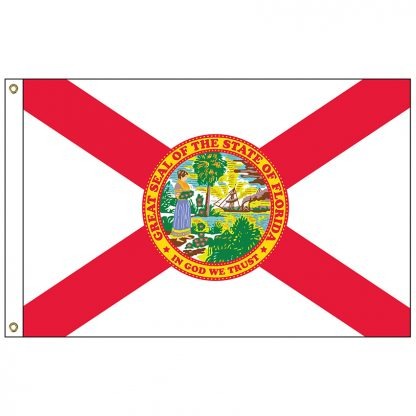 """SF-101-FLORIDA Florida 12"""" x 18"""" Nylon Flag with Heading and Grommets-0"""