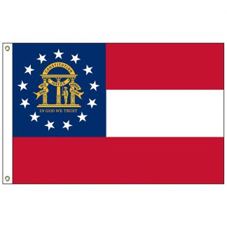 SF-104P-GEORGIA Georgia 4' x 6' 2-ply Polyester Flag with Heading and Grommets-0