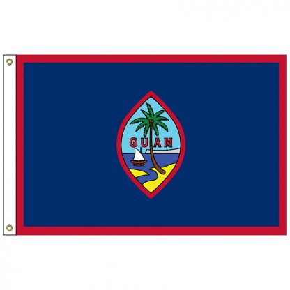 SF-105-GUAM Guam 5' x 8' Nylon Flag with Heading and Grommets-0
