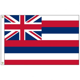 SF-104P-HAWAII Hawaii 4' x 6' 2-ply Polyester Flag with Heading and Grommets-0
