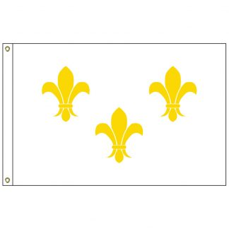 HF-417 Fleur-de-lis (white-3) 3' x 5' Outdoor Nylon Flag with Heading and Grommets-0