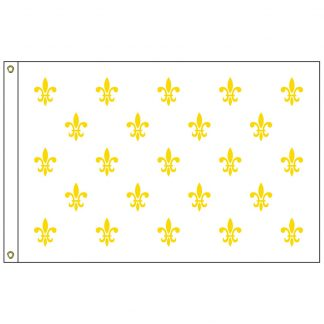 HF-418 Fleur-de-lis (white-23) 3' x 5' Outdoor Nylon Flag with Heading and Grommets-0