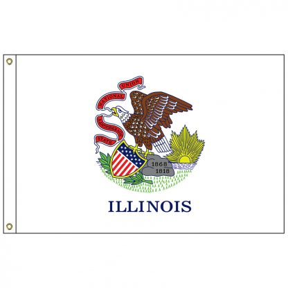 SF-105P-ILLINOIS Illinois 5' x 8' 2-ply Polyester Flag with Heading and Grommets-0