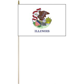 "EPC-1218-ILLINOIS 12"" x 18"" Illinois Stick Flag-0"