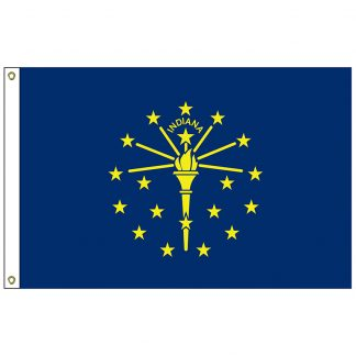 SF-102-INDIANA Indiana 2' x 3' Nylon Flag with Heading and Grommets-0