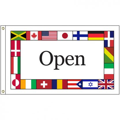 INTL-OPEN-23 International Open 2' x 3' Knit Poly Flag with Heading and Grommets-0