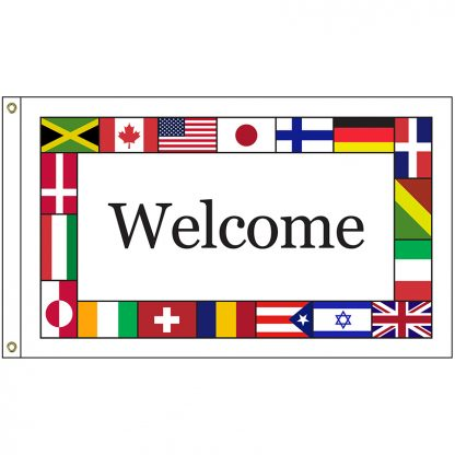 INTL-WELCOME-23 International Welcome 2' x 3' Knit Poly Flag with Heading and Grommets-0