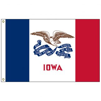 SF-103P-IOWA Iowa 3' x 5' 2-ply Polyester Flag with Heading and Grommets-0