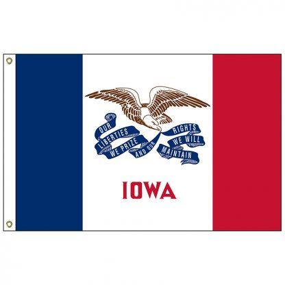 SF-105-IOWA Iowa 5' x 8' Nylon Flag with Heading and Grommets-0
