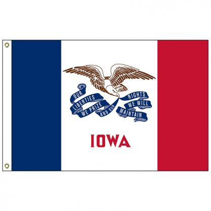 "SF-101-IOWA Iowa 12"" x 18"" Nylon Flag with Heading and Grommets-0"