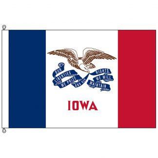 SF-1218-IOWA Iowa 12' x 18' Nylon Flag with Rope and Thimble-0