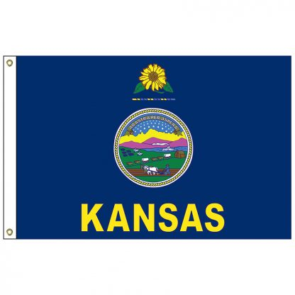SF-105P-KANSAS Kansas - 5' x 8' 2-ply Polyester Flag with Heading and Grommets-0