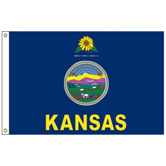 SF-104P-KANSAS Kansas 4' x 6' 2-ply Polyester Flag with Heading and Grommets-0
