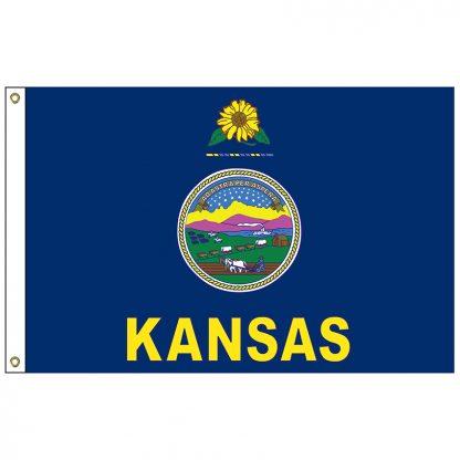 SF-103-KANSAS Kansas 3' x 5' Nylon Flag with Heading and Grommets-0