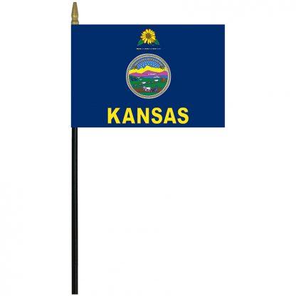 "MRF-46-KANSAS Kansas 4"" x 6"" Staff Mounted Rayon-0"