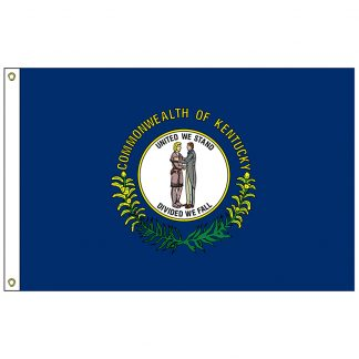 SF-103P-KENTUCKY Kentucky 3' x 5' 2-ply Polyester Flag with Heading and Grommets-0