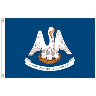 SF-105P-LOUISIANA Louisiana 5' x 8' 2-ply Polyester Flag with Heading and Grommets-0
