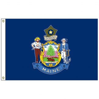 SF-105P-MAINE Maine 5' x 8' 2-ply Polyester Flag with Heading and Grommets-0