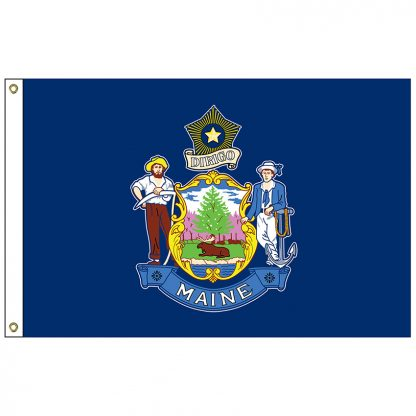 SF-103P-MAINE Maine 3' x 5' 2-ply Polyester Flag with Heading and Grommets-0